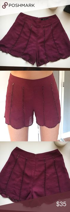 Maroon beaded scallop edged shorts Maroon shorts with beaded strips and scalloped edges, zipper in back, lined with silk, very light and flowy. These are perfect for being a little dressy and staying out of a skirt! Size small! Ark & Co Skirts Mini