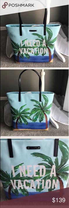 LAST 1 ❗️KS talk the talk shopper/tote/beach bag. ⭐️ Kate Spade talk the talk shopper/tote/beach bag NWT. COLOR ineedavctn I need a vacation ⭐️                                                       NO TRADES PLEASE kate spade Bags