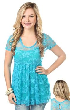 lace baby doll tee with empire seam - Debs - $5.80/3.62