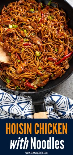 Hoisin Chicken with Noodles - tender strips of chicken breast and vegetables with egg noodles all coated in a delicious Hoisin Sauce Slimming World Chicken Dishes, Slimming World Chicken Recipes, Slimming World Recipes Syn Free, Recipes With Hoisin Sauce, Sauce Recipes, Asian Recipes, Healthy Recipes, Healthy Meals, Diet Recipes