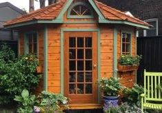 The Catalina Garden Shed Plan is a favorite, ideal for tucking away into the corner of a backyard for hidden storage and extra space. Pool Shed, Backyard Sheds, Outdoor Sheds, Garden Sheds, Backyard Gazebo, Patio, Small Wood Shed, Garden Shed Interiors, Corner Sheds
