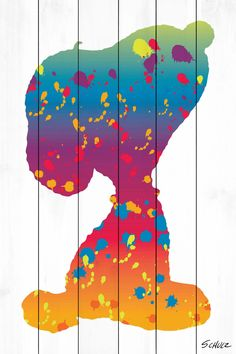 Description: This Peanuts wall art features beloved Snoopy in a rainbow silhouette accented with splatter paint marks. Printed on a white wood background, this wall hanging would look delightful in a