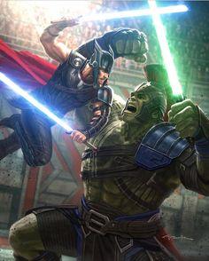 Thor vs The Hulk: Thor Ragnorak style #comicsandcoffee C: @andyparkart
