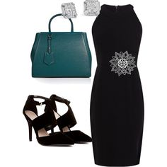 A fashion look from December 2014 featuring Karen Millen dresses, Fendi handbags and Blue Nile earrings. Browse and shop related looks.