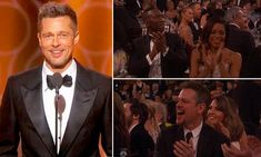 Brad Pitt looked incredibly handsome as he made a surprise appearance at the Golden Globes on Sunday night.
