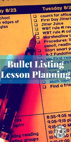 Have you heard of bullet lesson planning? It saved my sanity, and now my team and I do plans together, during planning time, during the week...hence, I'm not planning by myself on Sunday night anymore! We actually planned our first week of school during the last week of school last year. How do we do it?