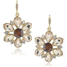 Carolee Top of the Rock Stone Flower Drop Earrings ($45) ❤ liked on Polyvore featuring jewelry, earrings, gold, rock earrings, carolee earrings, carolee, gold tone jewelry and carolee jewelry