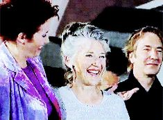 """Emma Thompson, Phyllida Law and Alan Rickman at the Venice Film Festival with """"The Winter's Guest"""", which he directed. 1997. Tidbit: Actress Phyllida Law is Emma's actual mother."""