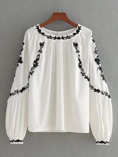 Vadim women sweet floral embroidery loose shirts oversized long sleeve o neck white blouse brand casual tops blusas _ {categoryName} - AliExpress Mobile Version - Hijab Fashion, Boho Fashion, Fashion Outfits, Autumn Fashion, Embroidered Clothes, Embroidered Tops, Embellished Top, Mode Boho, Embroidery Fashion