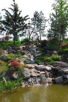 A Stunning Garden With A Lake And Lots Of Beautiful Trees