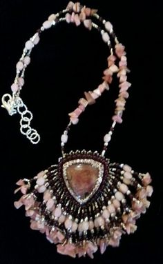 Rhodochrosite and Czech Glass bead embroidered necklace.