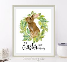 Easter is on his way  Quote Print  Wall Decor  8 by bydigitalpaper