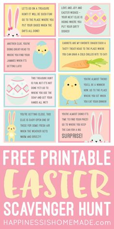 These free printable Easter Scavenger Hunt clues are SO much fun! Let the Easter Bunny lead your children on a super fun treasure hunt for their baskets using these cute scavenger hunt cards! via Skip to easters Hoppy Easter, Easter Eggs, Easter Egg Hunt Clues, Easter Egg Hunt Ideas, Fun Easter Ideas, Easter Wishes, Diy Ostern, Easter Crafts For Kids, Baby Crafts
