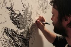 A Sprawling Forest Mural Drawn With Only a Black Sharpie by Sean Sullivan murals drawing