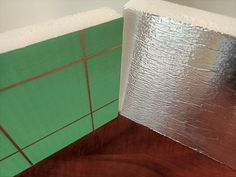 The Foilboard® Green panel is designed as a pure aluminium faced product; one side is coated in a green anti-glare layer for use in applications, where the sun may create glare issue on the construction site. Although one side has anti-glare, both sides provide a radiant barrier. Radiant Barrier, Insulation, Tile Floor, Layers, Construction, Sun, Pure Products, Texture, Create