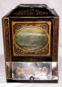 LARGE BLACK TOLE TEA BIN WITH SCENIC DECORATION, c. 1860-80