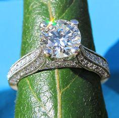 Round Diamond Engagement Ring   14k white gold  by BeautifulPetra, $7,000.00