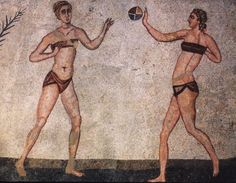 Roman girls playing ball game from the Roman mosaic 'Coronation of the Winner' in Villa Romana del Casale at Piazza Armerina, Sicily, Italy
