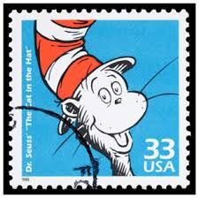 """The UNPA wasn't the first in honoring Theodore Geisel's work on a stamp, though. The United States Postal Service (USPS) issued stamps honoring him and his work as well. - Dr. Seuss' """"The Cat in the Hat"""" stamp, issued in 1999."""