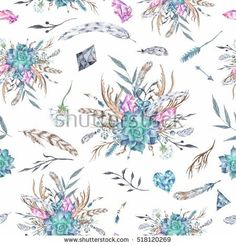 Watercolor Boho Pattern | Seamless tribal texture with feather and plant wreath on white background