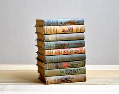 Set of nine beautiful antique children's books from the 1800s and early 1900s. The covers have the most beautiful artwork on them. Set inclu...
