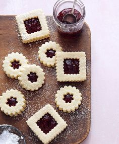 Ina Garten~ Linzer Cookies Makes 14 to 16 cookies ¾ lb. unsalted butter at room temperature 1 cup granulated sugar 1 tsp. pure vanilla extract cups all-purpose flour ¼ tsp. Galletas Cookies, No Bake Cookies, Holiday Cookies, Cake Cookies, Cupcakes, Sugar Cookies, Filled Cookies, Heart Cookies, Valentine Cookies