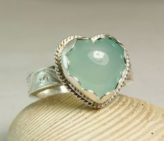 Aqua Chalcedony Heart Ring Sterling Silver by TazziesCustomJewelry, $118.00