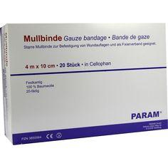 MULLBINDEN 10 cm m.Cellophan:   Packungsinhalt: 20 St Binden PZN: 03855564 Hersteller: Param GmbH Preis: 8,65 EUR inkl. 19 % MwSt. zzgl.…