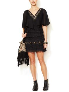 Tiered Lace Mini Capelet Dress by Free People at Gilt