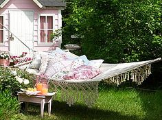 lazy days- love the pink and white tiny cottage!. I've wanted one of these hammocks for years...love