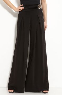 St. John Collection Wide Leg Pants with Faux Wrap Belt available at Nordstrom