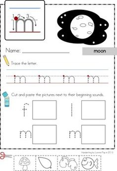 Handwriting worksheets - beginning sounds cut & paste for lowercase letters