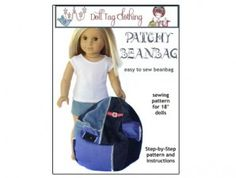 Doll Tag Bean Bag Chair Pattern for American Girl ® Dolls | Liberty Jane Doll Clothes Patterns For American Girl Dolls $3.99