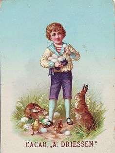 CACAO DRIESSEN BOY IN SAILOR SUIT CARRYING LARGE EGGS SURROUNDED BY RABBITS AND CHICKS WITH OTHER EGGS ON GROUND | Flickr - Photo Sharing!