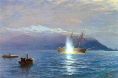 """Лагорио Л.Ф. Потопление катерами парохода """"Великий князь Константин""""  турецкого сторожевого парохода """"Интибах""""  в ночь на 14 января 1878 года"""