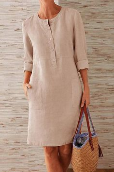 Kleidung Pockets Front Long Sleeves Linen Midi Dress – immorgo If you are planning on doing a lot of Long Sleeve Midi Dress, Maxi Dress With Sleeves, Shirt Dress, Dress Long, Casual Dresses, Fashion Dresses, Midi Dresses, Women's Fashion, Linen Dresses