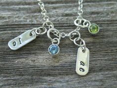 Sterling Silver Necklace with 2 Personalized Tags & 2 Birthstone Charms by tinyshinyones, $74.00