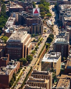 aerial shots for are all jaw-dropping but it's this overhead shot down Commonwealth Ave that really made us swoon! Boston University, Charles River, Commonwealth, Paris Skyline, Times Square, Shots, Urban, Instagram Posts, Water