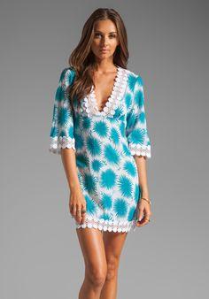 MILLY Aster Print Polynesian Dress in Aqua at Revolve Clothing