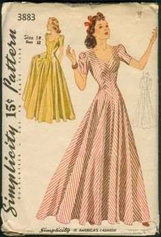 Simplicity 3883; ca. 1941; Misses' and Women's Evening Dress. The long, fitted bodice, cut in bias sections for figure-flattery, is joined to the full, gored skirt in a pointed seam below the natural waistline. Front shoulder yokes, joined to the lower bodice, form a charmingly shaped neckline. Short sleeves are gathered in the armhole and a concealed slide fastener closes the dress in back. | Vintage Patterns Wikia
