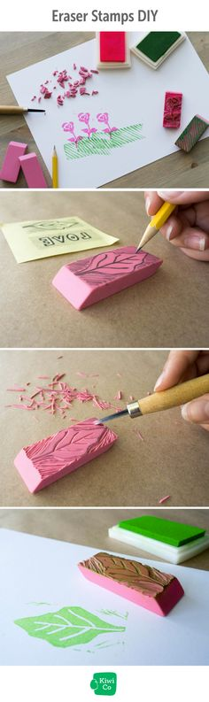 Repurpose erasers and make your own stamps