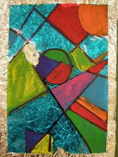 Watercolor Paint On Cellophane Stained Glass Effect