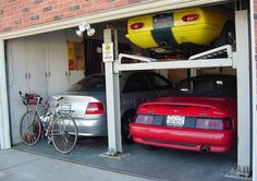 3 car garage :-)  a real 3 car garage. Deep, with plenty of room for work bench, tool racks and projects.  Proper heater for when the need arises.