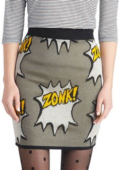 Right Onomatopoeia! Skirt - Grey, Yellow, Novelty Print, Quirky, Mini, Short, Knit