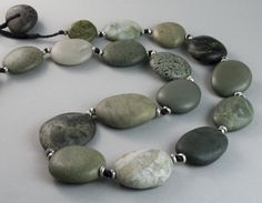 AT761  Large argillite (Brook St Terrane) necklace -1 semi-nephrite, stg silver  $490