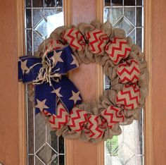 4th Of July Burlap Wreath Natural Blue and Red Chevron