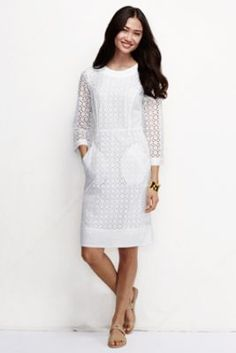 Women s elbow sleeve eyelet shift dress from lands end