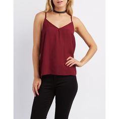 Charlotte Russe Strappy V-Neck Tank Top ($19) ❤ liked on Polyvore featuring tops, burgundy, chiffon tank, spaghetti-strap tank tops, racer back tank, racer back tank top and red racerback tank
