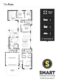A stylish 4 x 2 home design with central courtyard, spacious master suite with his & hers WIR & giant scullery to open plan living area.