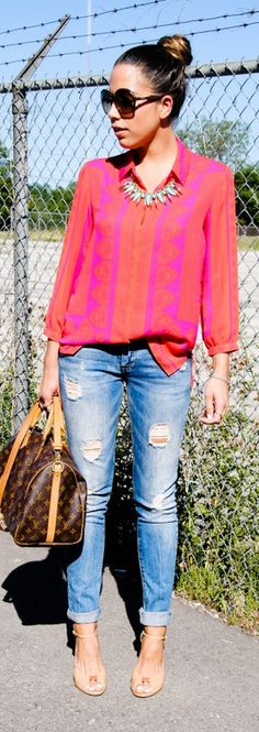 A pop of bright orange and pink | The Style Mogul